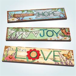 Plant Grow Gather Garden Art Planks Multi Bright Set of Three
