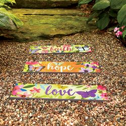 Faith Hope Love Garden Art Planks Multi Bright Set of Three