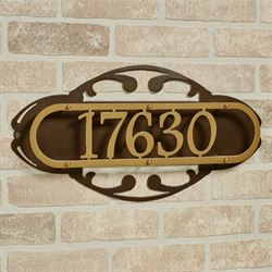 Paris House Number Address Wall Sign Gold/Bronze