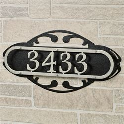 Paris House Number Address Wall Sign Silver/Black Wall