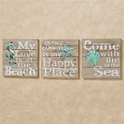 The Beach Wall Plaques Multi Cool Set of Three