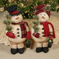 Woodland Snowmen Figures Multi Warm Set of Two