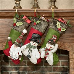 Santa and Friends Stockings Multi Warm Set of Three