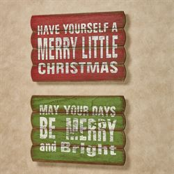 Merry Christmas Wall Plaques Multi Warm Set of Two