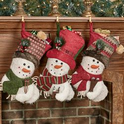 Let It Snow Stockings Multi Warm Set of Three