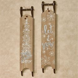 Sled Lighted Wall Art Brown Set of Two