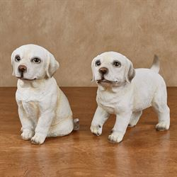 Labrador Pups Dog Figurines Multi Warm Set of Two