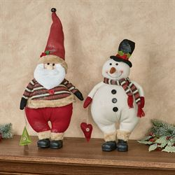Santa and Frosty Figures Multi Warm Set of Two