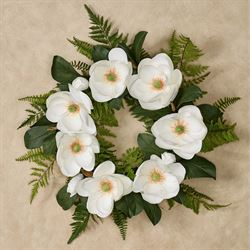 Magnolia Floral Wreath Ivory