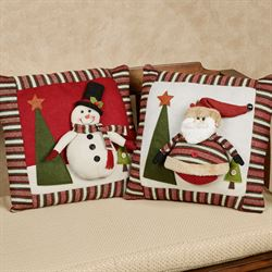 Santa and Frosty Pillows Multi Warm Set of Two