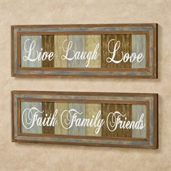 Life and Family Wall Plaques Multi Warm Set of Two
