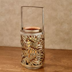 Tropical Leaves Lantern Candleholder Multi Warm