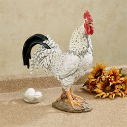 Wild Rooster Table Sculpture Black/White