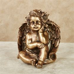 Silent Thoughts Cherub Sculpture Aged Gold