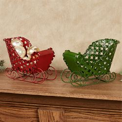 Sleigh Tabletop Accents Multi Warm Set of Two