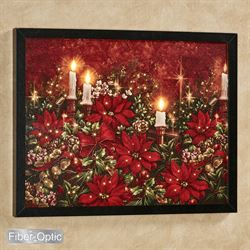 Poinsettia Lighted Canvas Wall Art Red