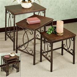 Lakefield Nesting Table Set Autumn Cherry Set of Three