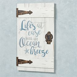 Lifes at Ease Barn Door Wall Plaque Whitewash