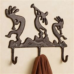 Kokopelli Serenade Wall Hooks Rustic Brown