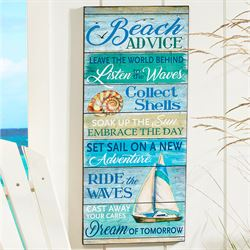 Beach Advice Indoor Wall Plaque Blue