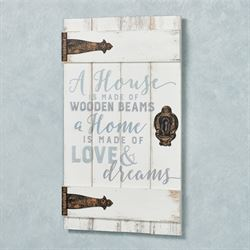 A House Is Love Barn Door Wall Plaque Whitewash