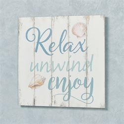 Relax Unwind Enjoy Wall Plaque Whitewash
