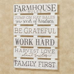 Farmhouse Rules Wall Plaque Whitewash