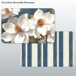 Magnolias on Blue Placemats Multi Cool Set of Four