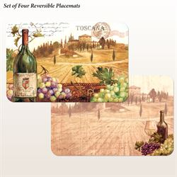 Wine with a View Placemats Multi Warm Set of Four