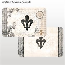 Cherish Fleur de Lis Placemats Multi Cool Set of Four