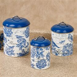 Indigo Cotton Kitchen Canisters Blue Set of Three