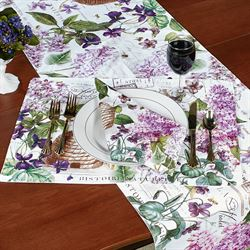 Lilac and Violets Table Runner Purple 16.5 x 60