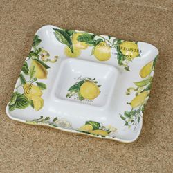 Lemon Basil Chip and Dip Server Yellow