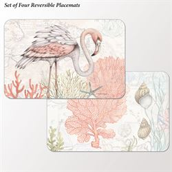 Shoreline Flamingo Placemats Multi Pastel Set of Four