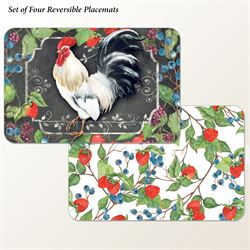 White Rooster Placemats Multi Cool Set of Four