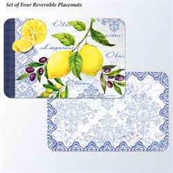 Lemons and Olives Placemats Multi Bright Set of Four