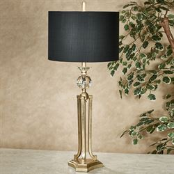 Everston Aged Gold Table Lamp With Black Shade