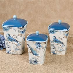 Indigold Bird Kitchen Canisters Blue Set of Three