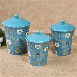 Exotic Garden Kitchen Canisters Blue Set of Three