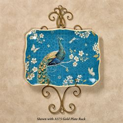 Exotic Garden Rectangle Serving Platter Blue