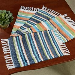 Striped Dhurrie Placemats Multi Cool Set of Four