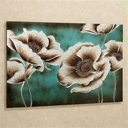 Jardin de Pavot Canvas Wall Art Teal