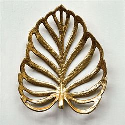 Coastal Palm Leaf Decorative Tray Gold