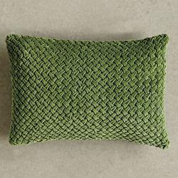 Roxana Smocked Velvet Rectangle Pillow Green