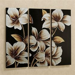 Lilies at Dusk Canvas Art Set Black Set of Three