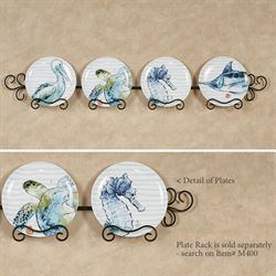 Nautical Sea Life Dessert Plates White Set of Four