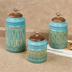 Songbird Kitchen Canisters Aqua Set of Three
