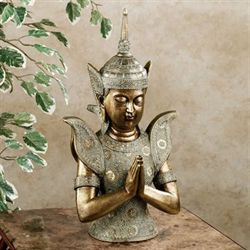 Tranquil Meditation Buddha Table Sculpture Antique Gold