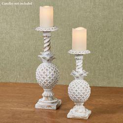 Benavento Pineapple Candleholders Whitewash Set of Two