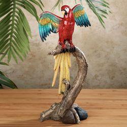 Tropical Friends Parrot Sculpture Red